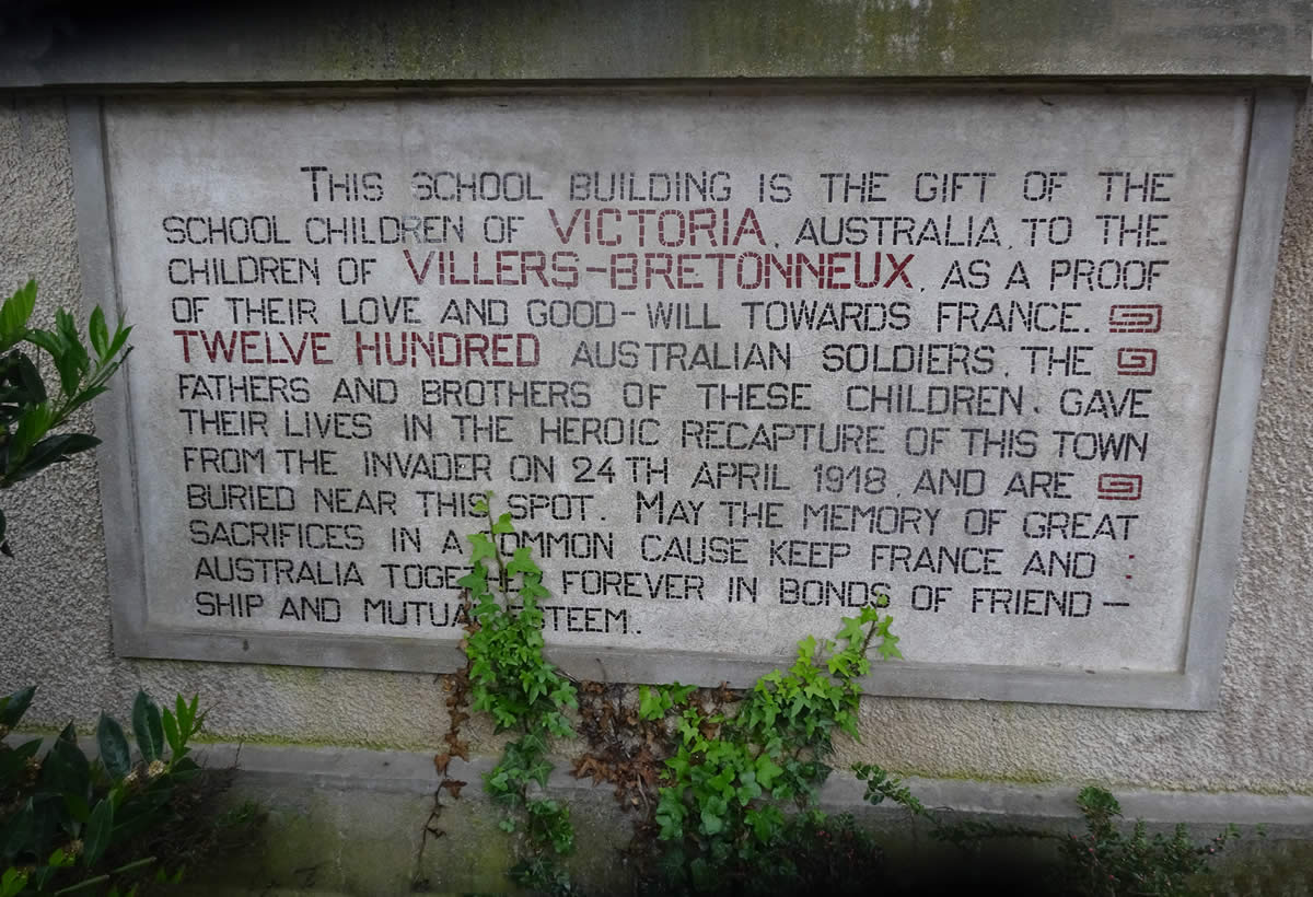 Memorial Plaque at Victoria School in Villers-Bretonneux