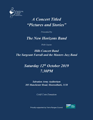 New Horizons Band - Pictures and Stories Concert flyer